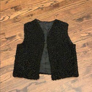 REAL SHEEP FUR black vest S